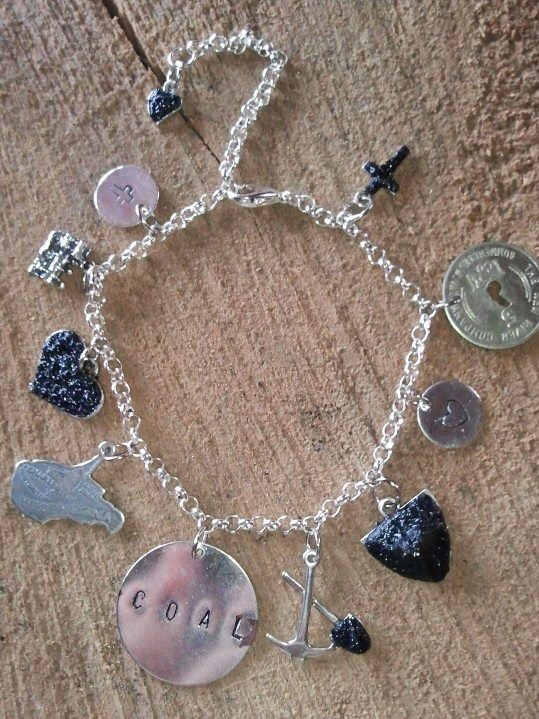 Hand made jewelry using Real WV Coal & Scrip. WV Charm bracelet. Find us on Facebook -  West Virginia Coal Jewelry  by Carol Dameron