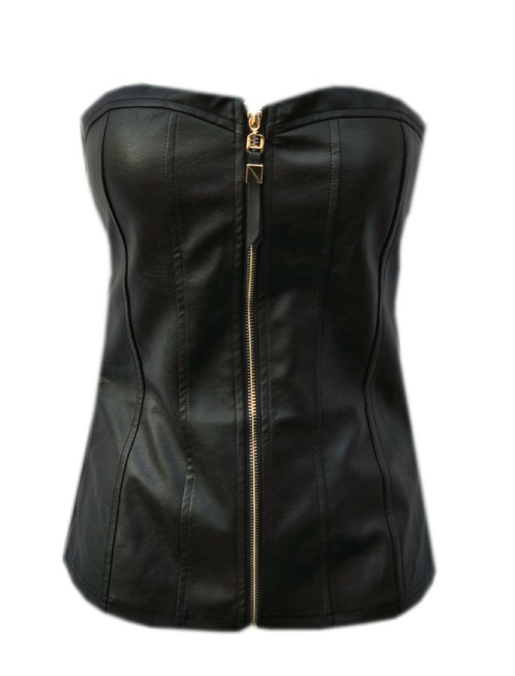 Strapless leather top from www.casj.nl  21.99