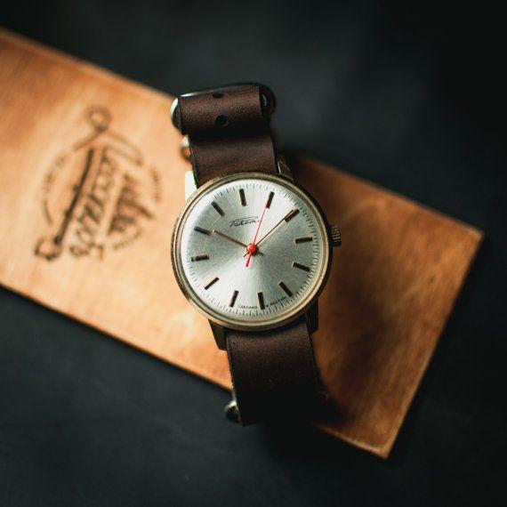 Russian watch Raketa, silver watch, mechanical watch men, womens watch, unisex watches, watches for women, leather nato strap