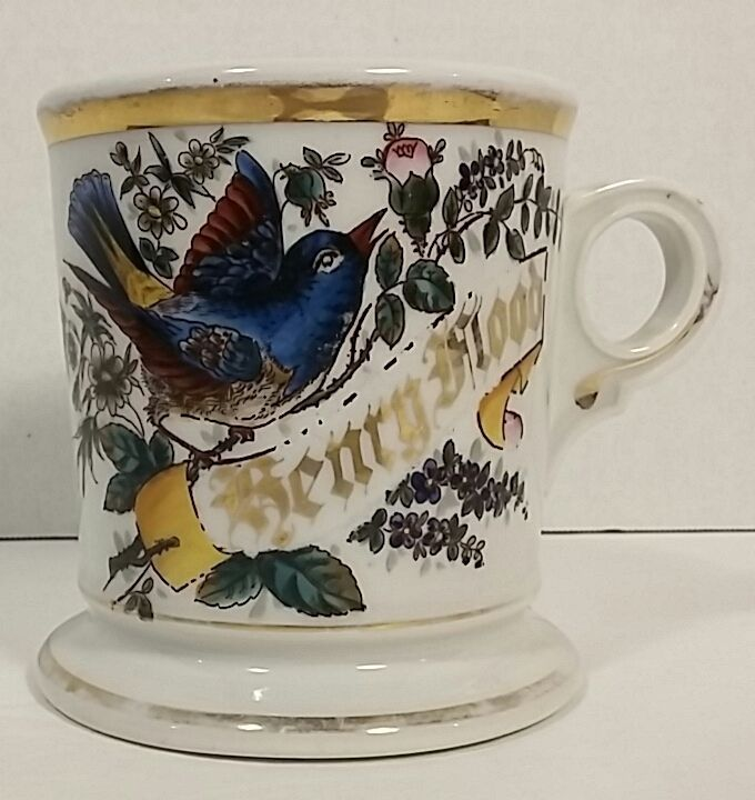 Vintage Koken Barbers Supply Co Ceramic Shaving Mug Bluebird Henry Flood USA