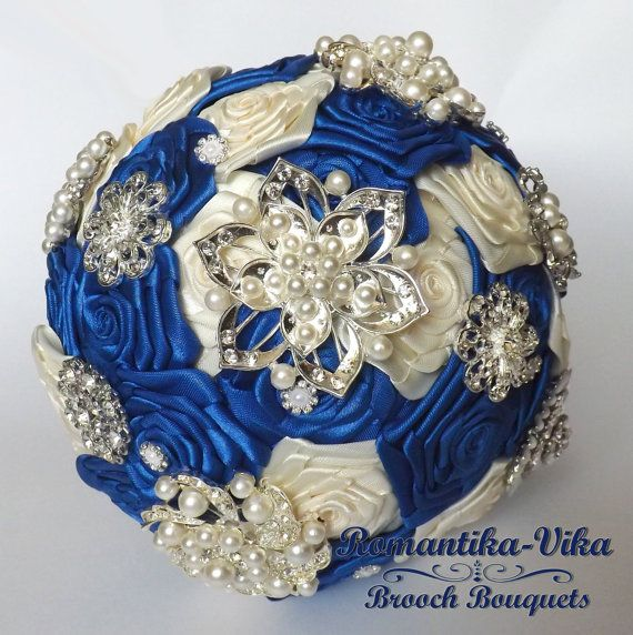 Brooch Bouquet. Ivory and Blue wedding bouquet by RomantikaVika