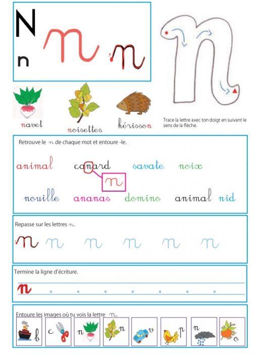 Page d'activité sur la lettre n - Livre GS / CP sur les minuscules l Lecture MS maternelle et CP