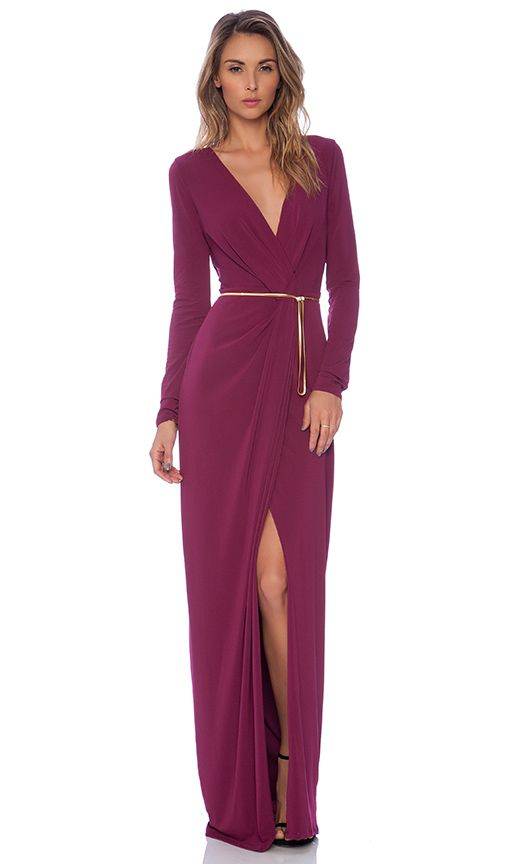 Halston Heritage Long Sleeve Cross Over V Neck Gown in Boysenberry | REVOLVE