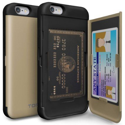 Amazon.com: iPhone 6S Case, TORU [CX PRO] iPhone 6 Wallet Case - [CARD SLOT][ID HOLDER][KICKSTAND] Protective Hidden Wallet Case with Mirror for iPhone 6/6S - Gold: Cell Phones & Accessories