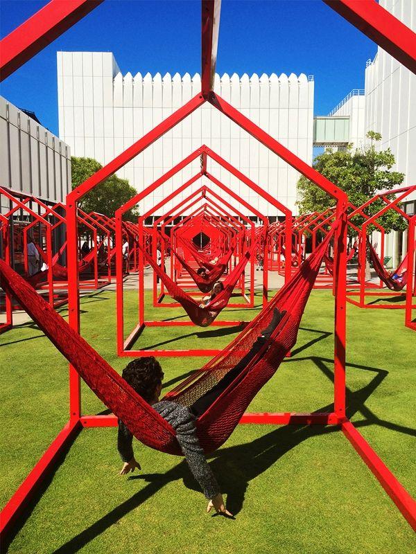 Interesting Interactive Installation with Detachable Hammocks for the Woodruff Arts Center in Atlanta