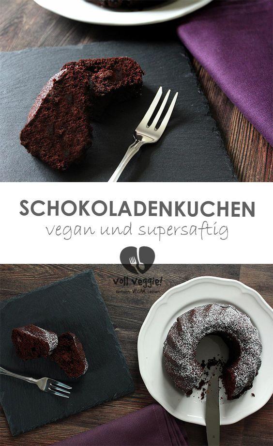 Schneller #Schokokuchen – supersaftig und sooo herrlich locker! Dieser #Schokoladenkuchen, gebacken als #Gugelhupf in einer Miniform (18 cm) – ist vollgepackt mit Schokolade: viel gehackte Schokolade, edler Kakao und dazu echte #Vanille – feiner und schokoladiger geht's nicht! Natürlich #vegan.