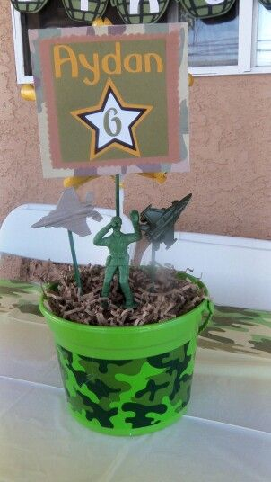 Army theme centerpieces army birthday party pinterest for Army decoration ideas