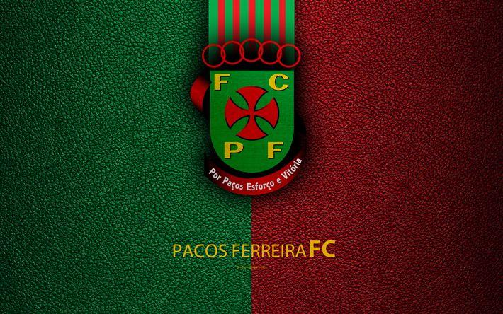 Download wallpapers Pacos Ferreira FC, 4K, leather texture, Liga NOS, Primeira Liga, emblem, logo, Pasush di Ferreira, Portugal, football, Portugal Football Championships