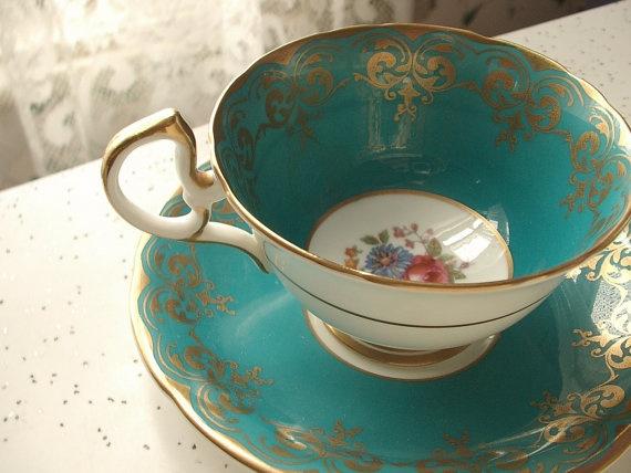 antique teal tea cup and saucer set vintage by ShoponSherman, $65.00
