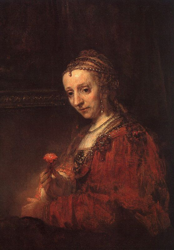 Lady with a Pink, Rembrandt van Rijn. Dutch (1606-1669)