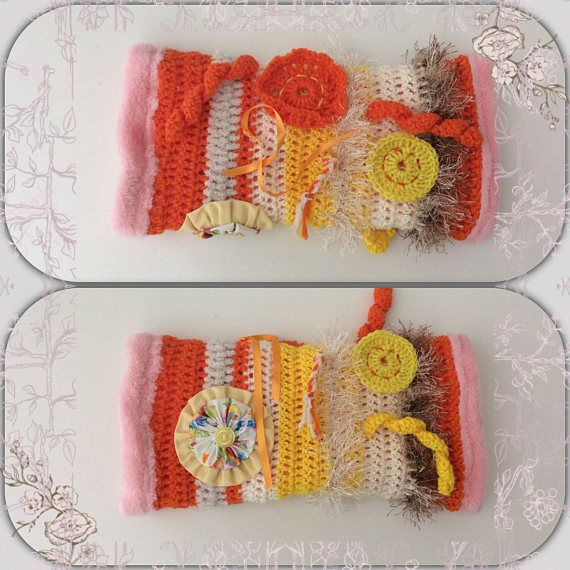 I have for sale a Twiddle Sensory Fidget Muff. These muffs are designed to keep the persons hands busy by providing a variety of visual & tactile experiences. The muff often works as a calming tool for people to manage agitation, provide distraction & occupy the hands.  The muff is knitted, decorated with fiddle items & lined with fleece fabric which is soft & cosy to feel. The inside of the muff is not decorated.  The muff can be handwashed or machine washed on the gentle cycle.  Thankyou…