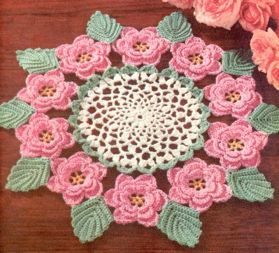 50's Irish Rose Doily Vintage Crochet Pattern  I've made several of these.  One in size 10 thread and one in size 30.