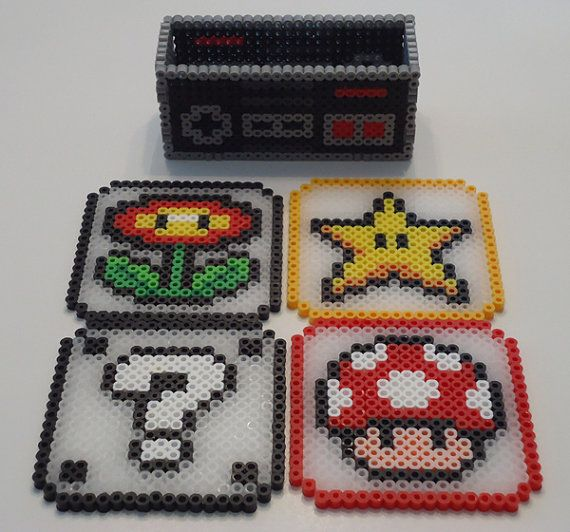 Super Mario Brothers Set of 4 Coaster with NES Controller Holder Perler Bead Sprite by Gamespritez