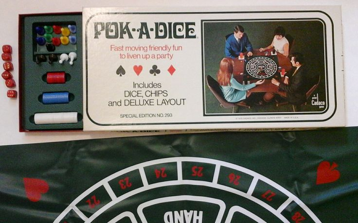 Pok-A-Dice Poker Game by Cadaco Co. 1970 - Same makers as Tripoley by RiverPickers on Etsy https://www.etsy.com/listing/196642848/pok-a-dice-poker-game-by-cadaco-co-1970