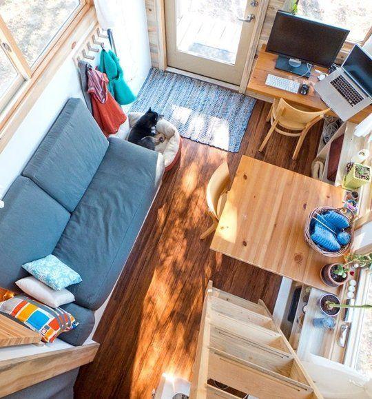 A Peek Inside Alek's Tiny Project House House Call | Apartment Therapy lol ça coute pas cher pour chauffer en hiver ça!! pour rafraichir non plus hahaha
