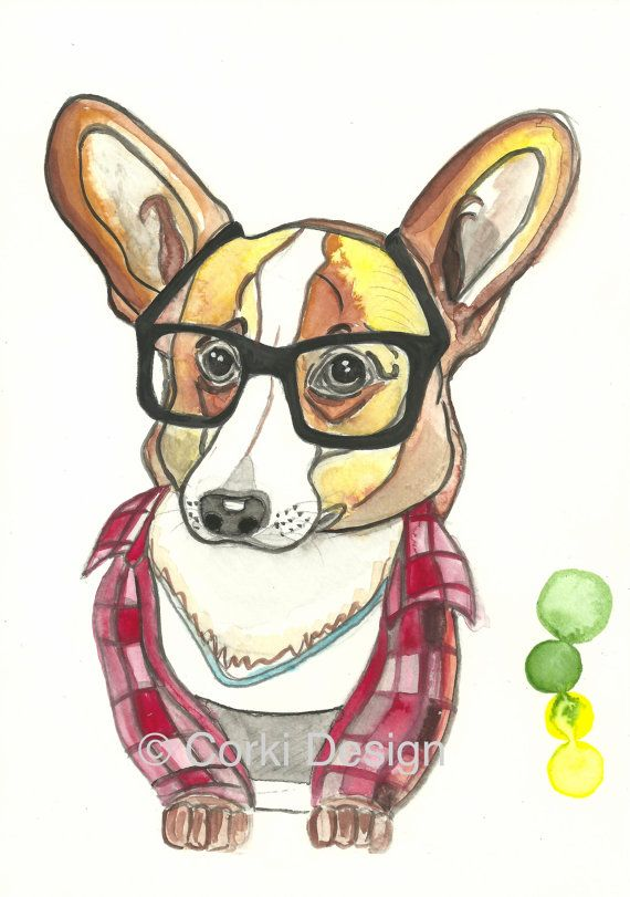 Hipster Corgi  Pembroke Welsh Corgi dog wearing by CorkiDesign, $24.00