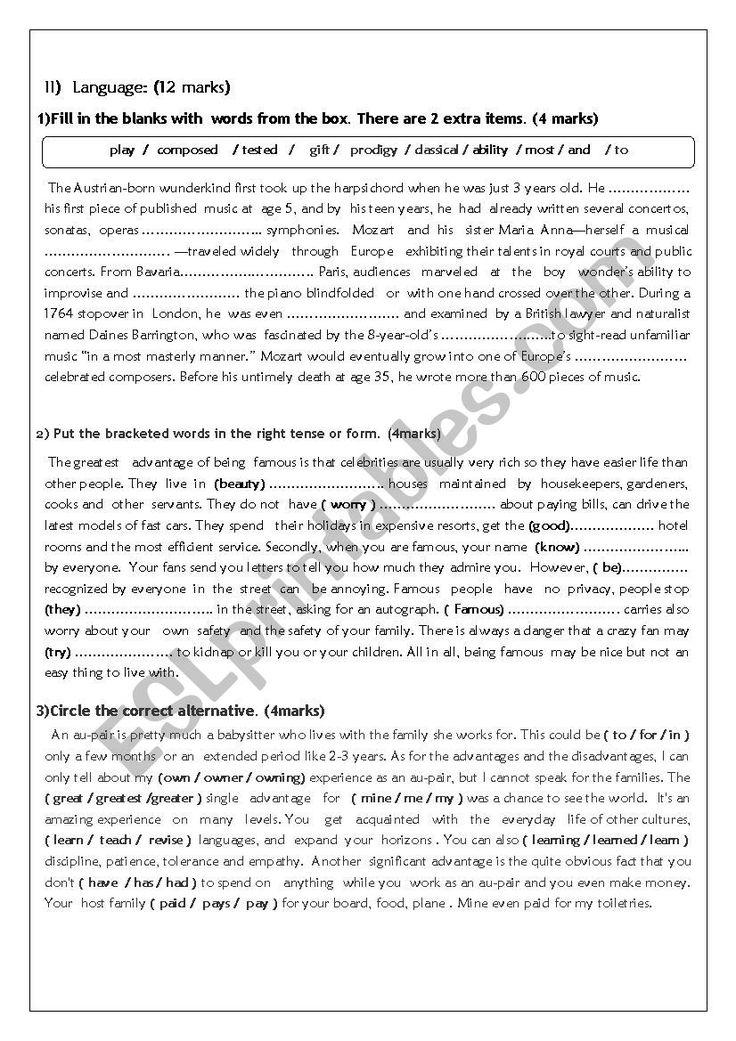 MidSemester Test N°2 (1st form) in 2020 Esl lesson