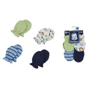 Gerber Baby Boys' Mittens, 4-Pack