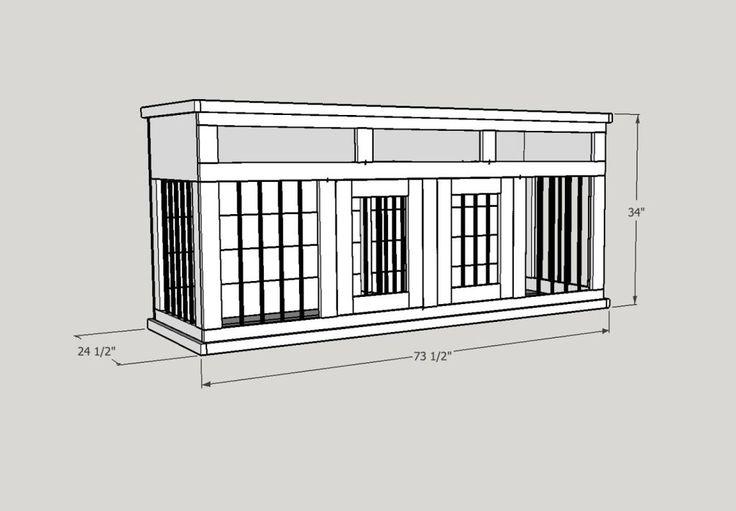 medium dog kennel entertainment center plan