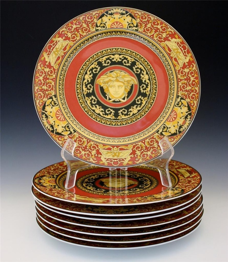 Rosenthal Versace Medusa Set Of 8 Service Plates Chargers & Versace Tableware - Castrophotos