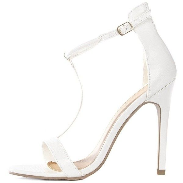 Jordan Cream Strappy T Bar Heeled Sandal ($19) ❤ liked on Polyvore featuring shoes, sandals, faux leather sandals, strap sandals, t strap sandals, strap heel sandals and t strap high heel sandals