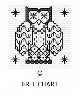 FREE Chart Blackwork Owl | Lesley Teare Thoughts on Design