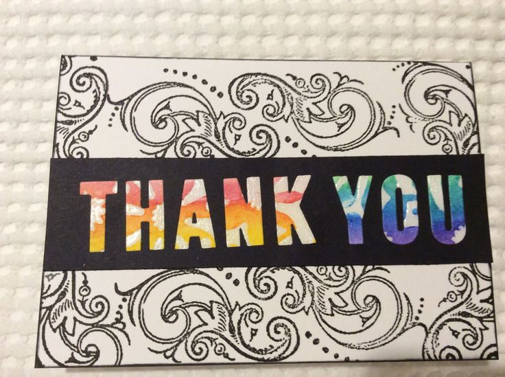 Thank you card created with Faber-Castell Gelatos, UTEE, Versafine ink and Distress Ink. Stamps by Kaszazz. Stencil by MIX-ables Stencils.