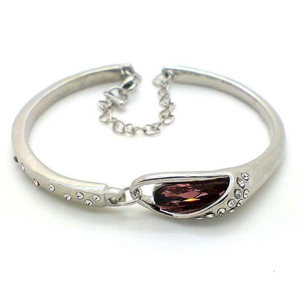 Beora Platinum Plated Purple Crystal Bracelet Bangle @ Trendymela.com