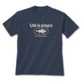 Life is Simple - Fish ~ Blue Dusk T-Shirt Large (Apparel)By Earth Sun Moon