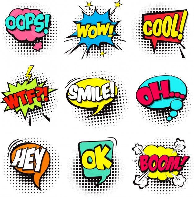 Jogo de caricatura comic fala bolhas Dialog nuvens com palavra e som Vetor grátis