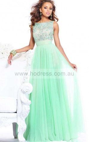 Sleeveless Zipper Bateau Floor-length Tulle Evening Dresses esaa1006--Hodress