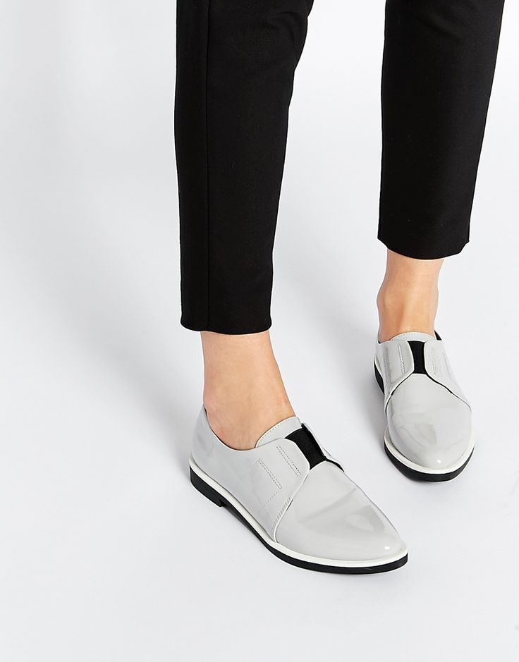 Flat shoes by ASOS Collection Patent leather-look upper Slip-on style  Elastic detailing Almond toe Stacked flat sole Wipe with a soft cloth  Polyurethane ...
