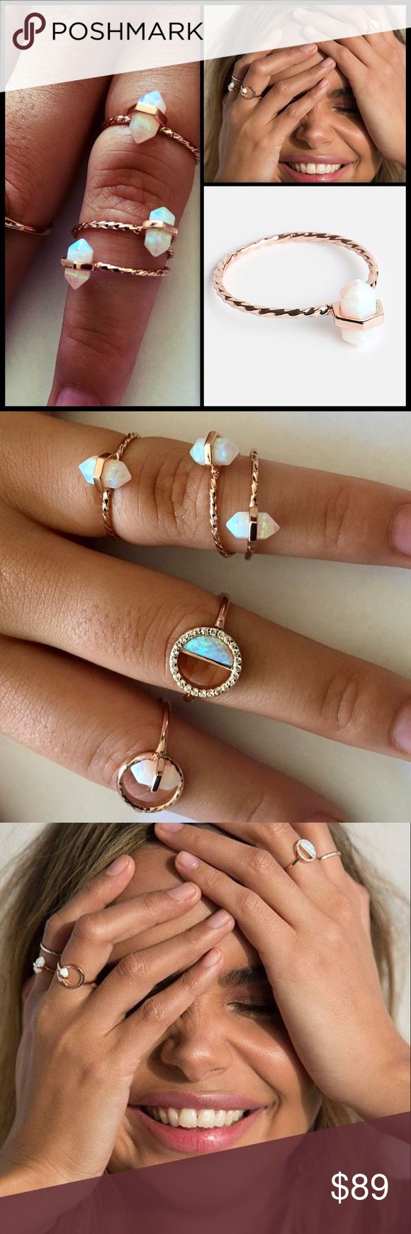 SAMANTHA WILLS 🌙Fleeting Movements Opal/Rose Gold The whimsical wonder of this piece is sure to turn heads. The Fleeting Movements Ring's white opal stone encased by a delicate twisted rose gold band is the embodiment of bohemian-chic. NWOT - Price is for ONE single ring.  Size S/M = approx size 6. Comes in unbranded silk pouch.                                                               Twisted band of 14k rose gold plated sterling silver   Features mineral cut white opal stone…