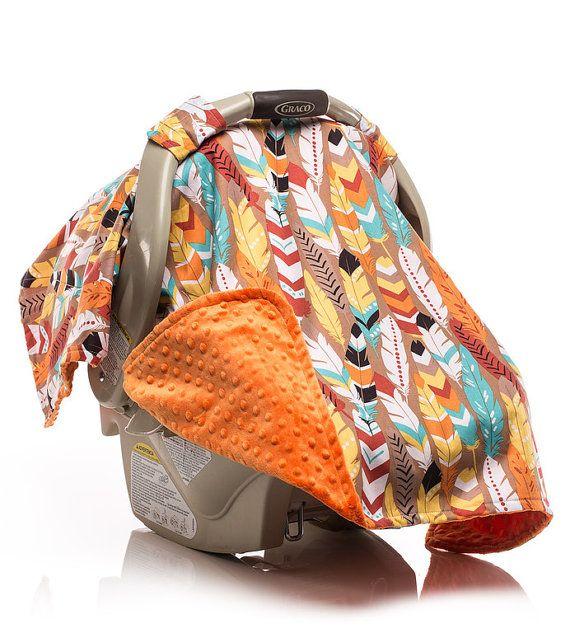 Infant Carseat Canopy, Baby Boy Carseat Cover, Native American, Feathers, Orange Minky. USA Made by Elonka Nichole Designs www.elonkanichole.com