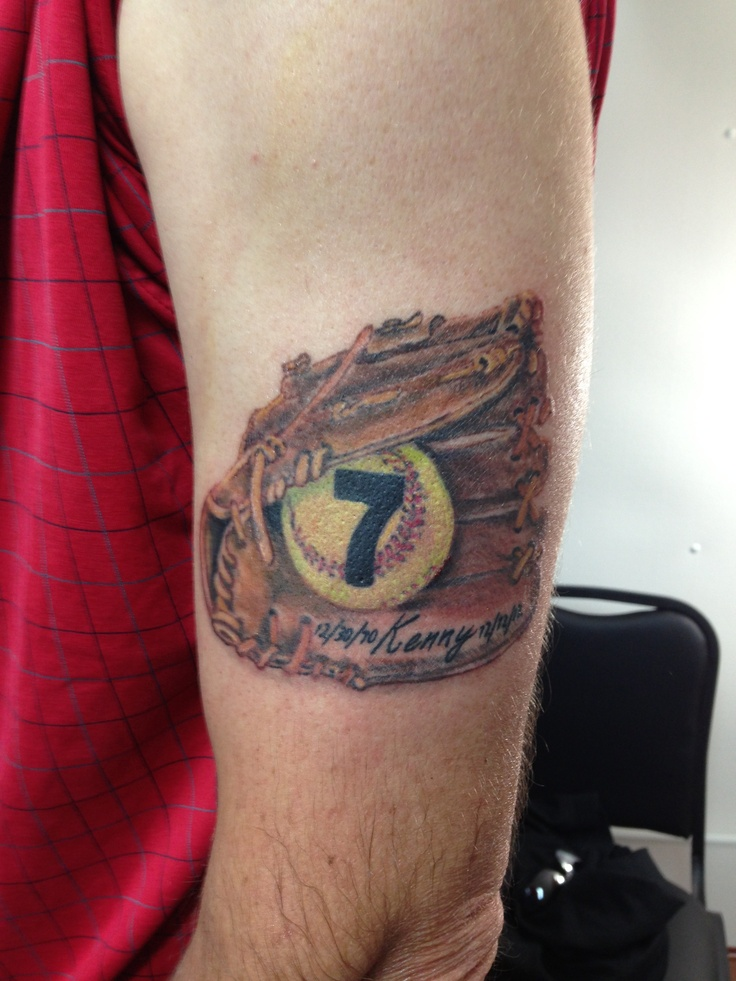 Softball memorial tattoo for my clients brother. By Wojo