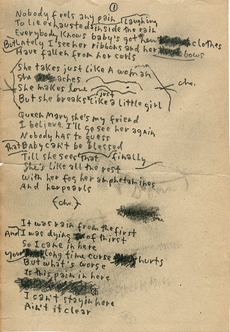"Bob Dylan's handwritten lyrics for Just Like A Woman. This exploration of female wiles and feminine vulnerability was widely rumored—""not least by her acquaintances among Andy Warhol's Factory retinue""—to be about Edie Sedgwick."