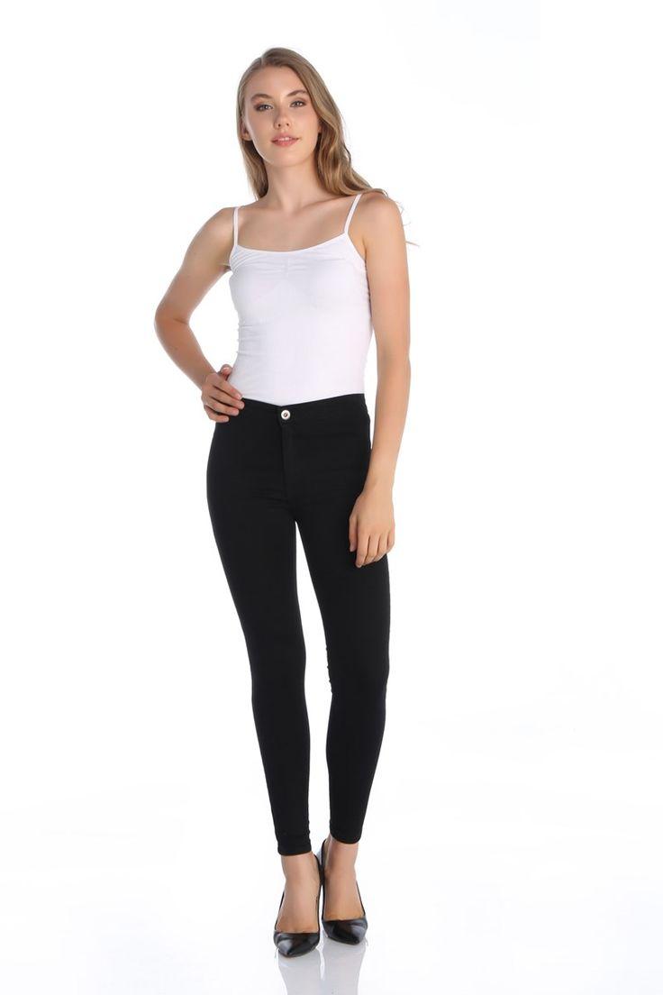 Yüksek Bel Tayt Bayan Pantolon Siyah   Rays Giyim