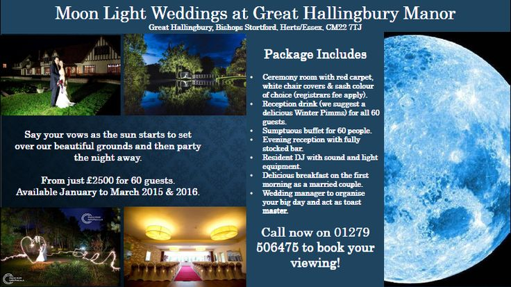 Legacy Great Hallingbury Manor @GHMhotel @Legacy_hotels  Have you ever considered getting married as the sun sets? Take advantage of our Sparkling Moonlight Wedding Offer.... Get married as the sun sets en then enjoy a fabulous party with reception drinks and a sumptuous buffet (and DJ) for 60 guests at JUST £2500!. Call us now on 01279 506475 for more information. http://www.legacy-hotels.co.uk/legacy-greathallingbury/