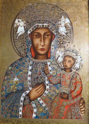 Schwarze Madonna von Tschenstochau auf Porzellan - 38 x  30 cm in Antiquitäten & Kunst, Volkskunst, Religiöse Volkskunst, Ikonen, Objekte nach 1945   eBay