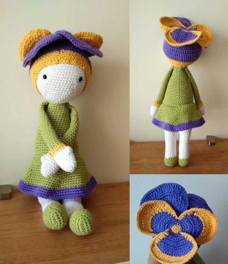 Violet Vicky flower doll made by Carolina D from the Knitting Sheep - crochet pattern by Zabbez