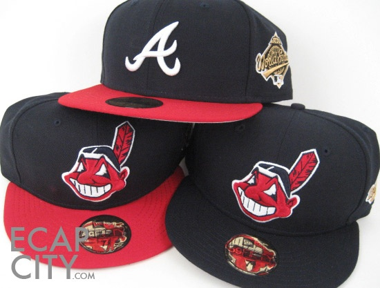 048fd57236c 1995 World Series Atlanta Braves and Cleveland Indians Official Game New  Era Fitted