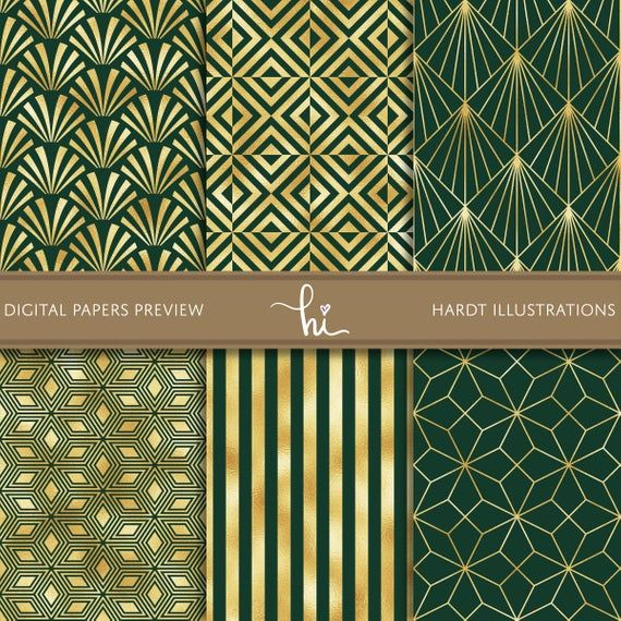 Emerald Gold Foil Art Deco Digital Paper Geometric Design Vintage Background Jazz Age Printable Gold Foil Art Digital Paper Foil Art