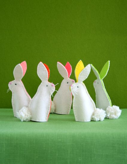 Bunny Finger Puppets - the purl bee: Bunnies Fingers, Bunnies Decor, Decoration, Felt Bunnie, Easter Crafts, Easter Bunnies, Felt Easter, Easter Bunny, Fingers Puppets