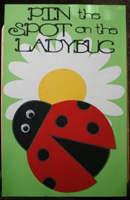 """I used some green posterboard for the base of the game. I then cut a daisy from Picturesque as large as I could. I placed it on some white posterboard, then used it to draw out an even larger daisy. I cut the ladybug from Doodlecharms at 10 3/4"""" (as large as it would go), and used my Gypsy to hide one of its spots. I gave it large google eyes"""