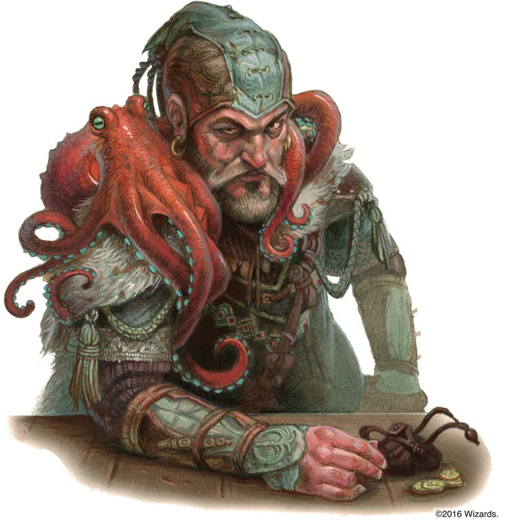 Lord Khaspere Drylund with octopus familiar; Black Network Guild Master: Elwan Commune