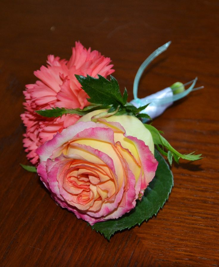 Coral Carnation And Coral Tipped Rose Boutonniere With