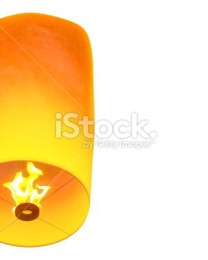 Lanterns float Left isolated on white background - Stock Image