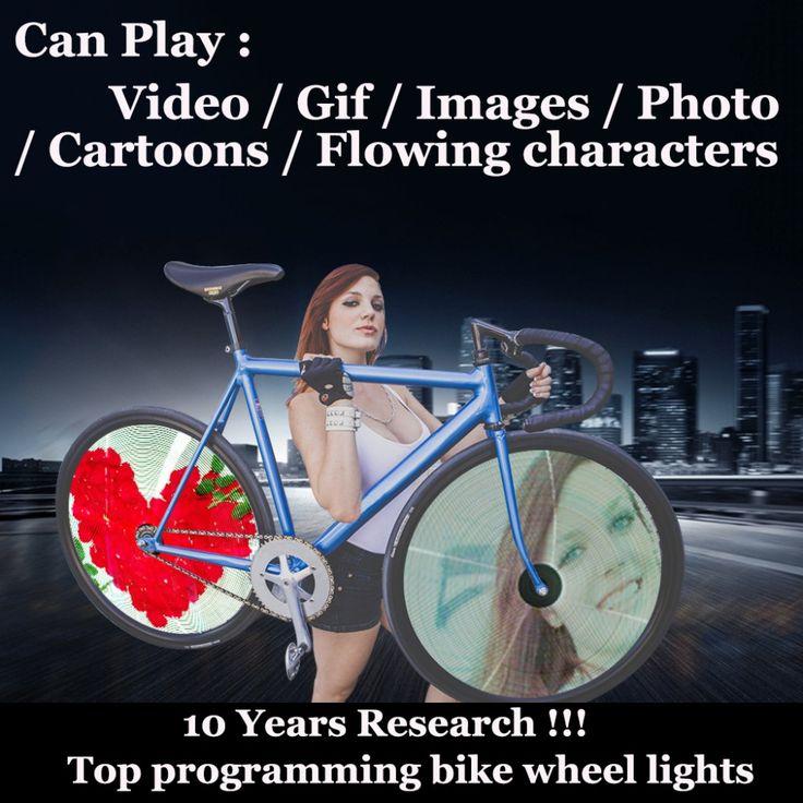 Encontrar Más Luz de la bicicleta Información acerca de Programable Bicicleta Luz de Vídeo de Imágenes gif 416LED bicicleta Habló Luces de la rueda led habló Impermeable Cambiante Colorido DIY Ciclismo, alta calidad Luz de la bicicleta de VG- Sports Store en Aliexpress.com