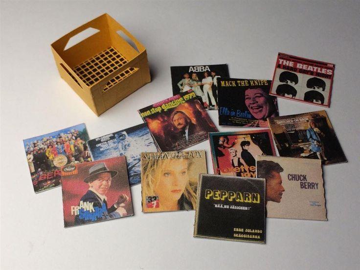 Läskback med vinylskivor 1:16 ölback drickaback - LP vinyl - dockhus på