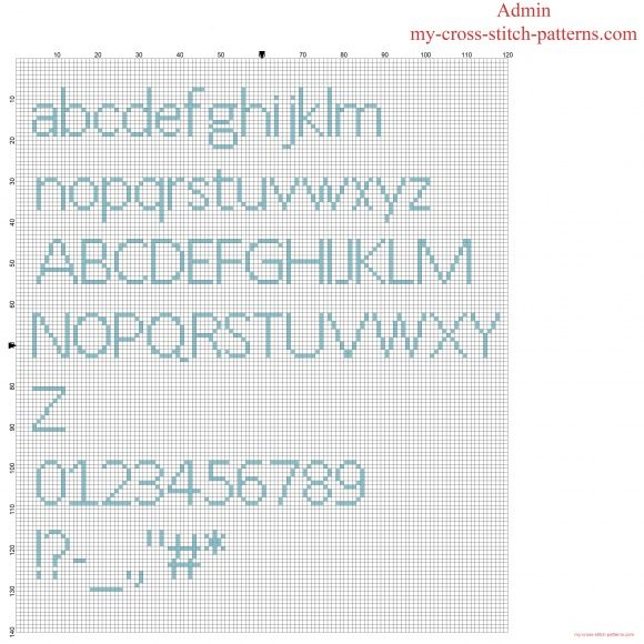 Cross stitch alphabet font Calibri lowercase uppercase letters numbers and special characters
